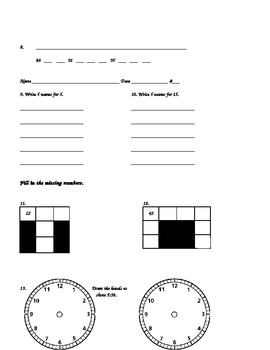2nd Grade, Everyday Math, Unit 1 Practice Test