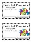 2nd Grade Everyday Math: Unit 10- Decimals &Place Value Study Guide