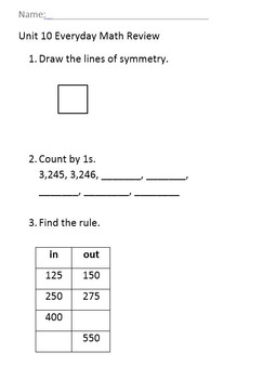 2nd Grade Everyday Math Unit 10 Review
