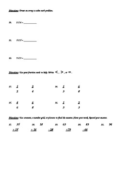 2nd Grade, Everyday Math, Unit 11 Practice Test