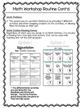 2nd Grade Everyday Math Workshop Plans for Unit 1