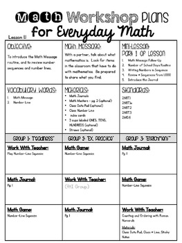 2nd Grade Everyday Math Workshop Plans For Unit 1 By Leslie Frobig
