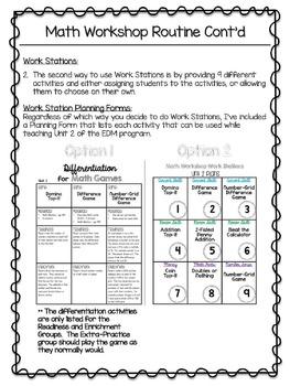 2nd Grade Everyday Math Workshop Plans for Unit 2