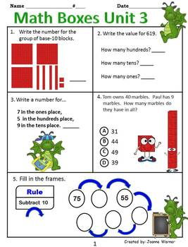 2nd Grade Everyday Math Yearly Reviews ~ Units 1 -12