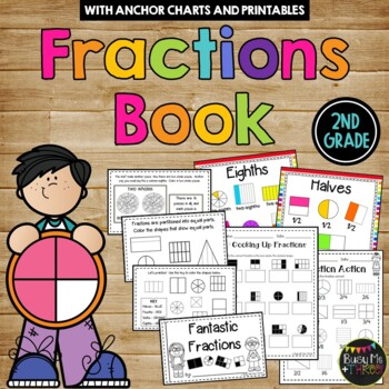 {2nd Grade} FRACTIONS SET with Book, Games, Whole Group & Center Activities