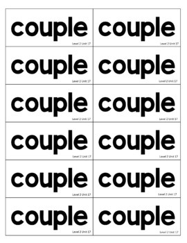 2nd Grade Fundationally FUN PHONICS Level 2 Take Home Trick Word Cards