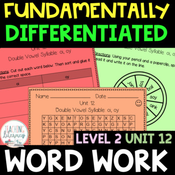 2nd Grade FUNDATIONally Differentiated Word Work Activities - Level 2, UNIT 12
