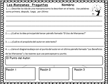 5 Short Non-Fiction Spanish Texts with Common Core Aligned Questions {Fall}