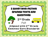5 Short Non-Fiction Spanish Texts with Common Core Aligned
