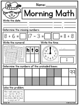 2nd Grade Fall Themed Morning Work