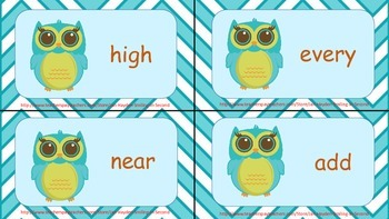 2nd Grade Flash Cards.  Fry's Third 100. Owl Theme