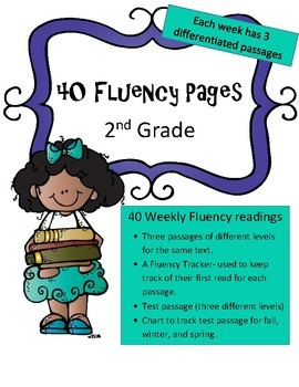 Year Long Differentiated 2nd Grade Fluency Pages (40 weeks:3 levels per passage)