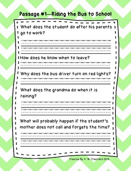 2nd Grade Fluency Passages with Comprehension Questions Set A (#1-10)
