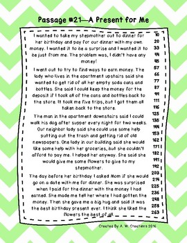 2nd Grade Fluency Passages with Comprehension Questions Set C (#21-30)