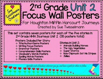 2nd Grade Focus Wall Posters for Houghton Mifflin Harcourt Journeys Unit 2