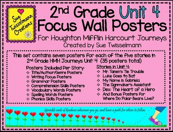 2nd Grade Focus Wall Posters for Houghton Mifflin Harcourt Journeys Unit 4