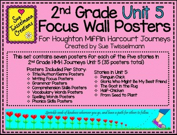 2nd Grade Focus Wall Posters for Houghton Mifflin Harcourt Journeys Unit 5