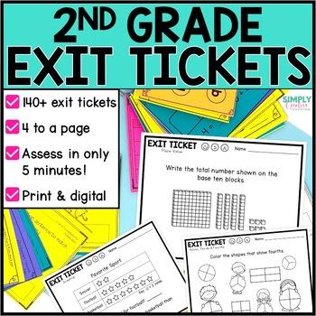 2nd Grade Math Exit Slips Bundle