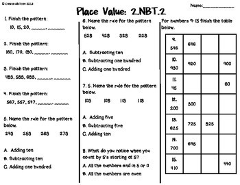 Math Tests 2nd Grade