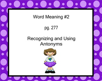 2nd Grade Fountas and Pinnell Antonym Mini-Lesson (2005 edition)
