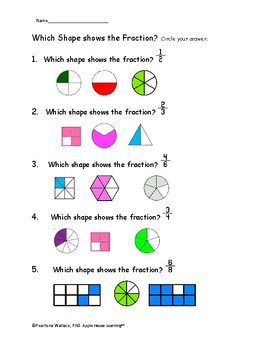 Fraction Unit: NO PREP Worksheets and Activities 2nd & 3rd Grade CCSS