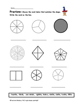 Fraction Cupcakes & Shapes Unit: Worksheets & Activities 2nd & 3rd Grade NO PREP