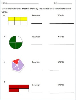 2nd Grade Fraction Math Centers for Identifying and Writing Fraction Words