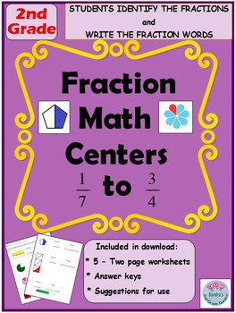 2nd Grade Fraction Math Centers for Identifying and Writin