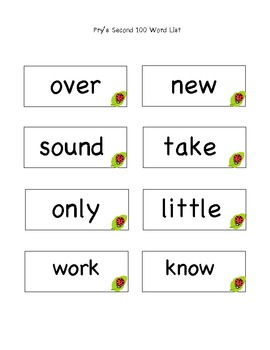 2nd Grade Fry's Second 100 Words List --Ladybug Clipart