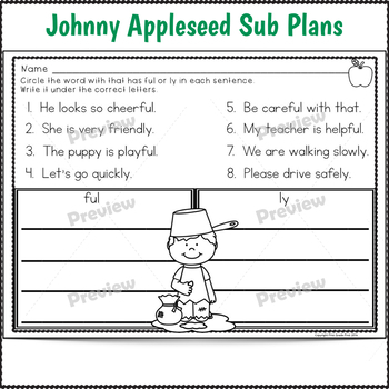 Sub Plans 2nd Grade Johnny Appleseed