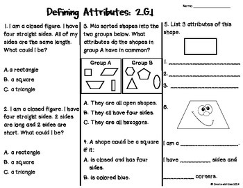 Geometry Tests 2nd Grade