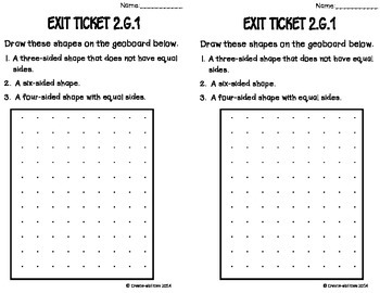 Attributes of Shapes Math Tasks and Exit Tickets 2nd Grade