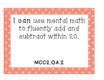 2nd Grade GA Common Core I Can Math Standards