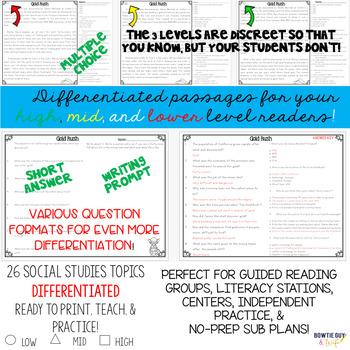 Social Studies Passages Nonfiction Texts & Questions for Second Grade GSE