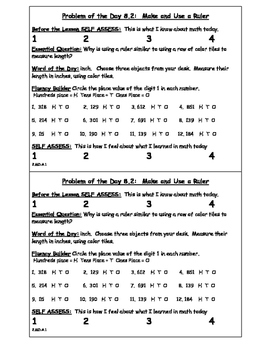 2nd Grade GO MATH! Problem of the Day Chapter 8: Length in Customary Units