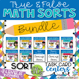 2nd Grade GROWING Math Task Card BUNDLE- True & False Sort