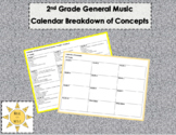 2nd Grade General Music Yearly Calendar Breakdown of Concepts