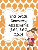 2nd Grade Geometry Assessments {2.G.1, 2.G.2, 2.G.3}