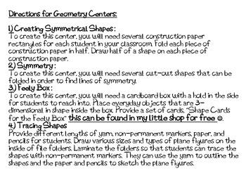 2nd Grade Geometry Centers