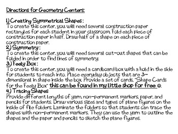 2nd Grade Geometry Centers