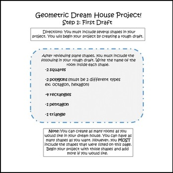 Geometry Project Dream House- 3rd Grade Common Core