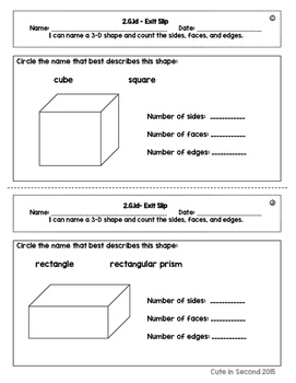 2nd Grade Geometry Common Core Exit Slip Assessment Pack