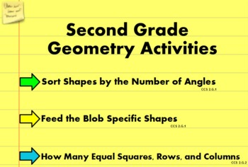 2nd Grade Geometry Flipchart Activities