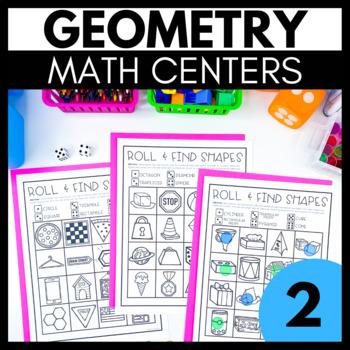 2nd Grade Geometry Math Centers - 2D & 3D Shapes