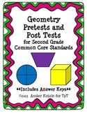 2nd Grade Geometry Pretests and Post Tests (Common Core Aligned) *WITH ANSWERS*
