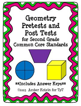 2nd Grade Geometry Pretests and Post Tests (Common Core Al