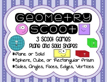 2nd Grade Geometry Scoot - 3 Games - Plane and Solid Shapes