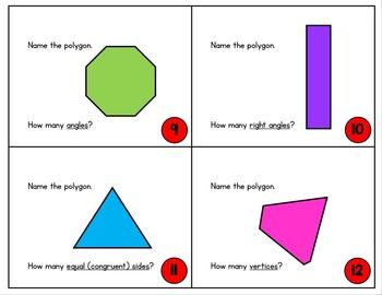 2nd Grade Geometry Task Cards - 2-D Shape Task Cards - Polygons