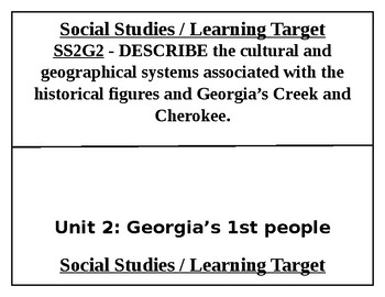 2nd Grade Georgia History Learning Targets