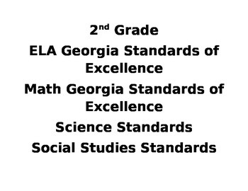 2nd Grade Georgia Standards Preview